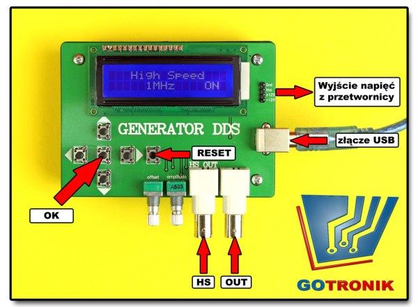 generator DDS opis złącz
