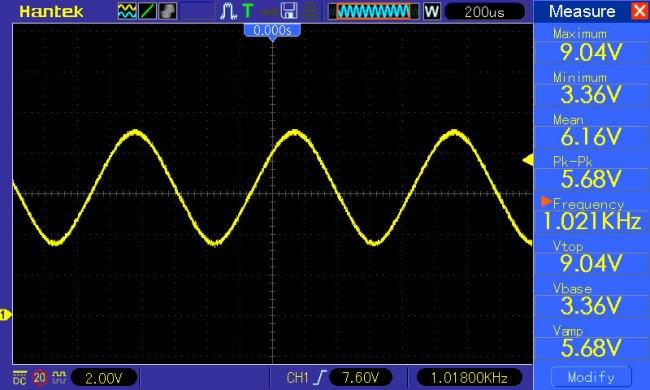 sinusoida f=1kHz potencjometr amplitudy w połowie