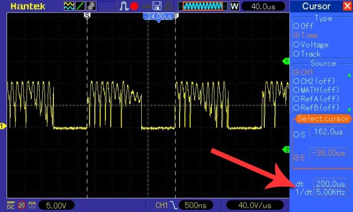 Pomiar częstotliwości przy napięciu wejściowym 5 V