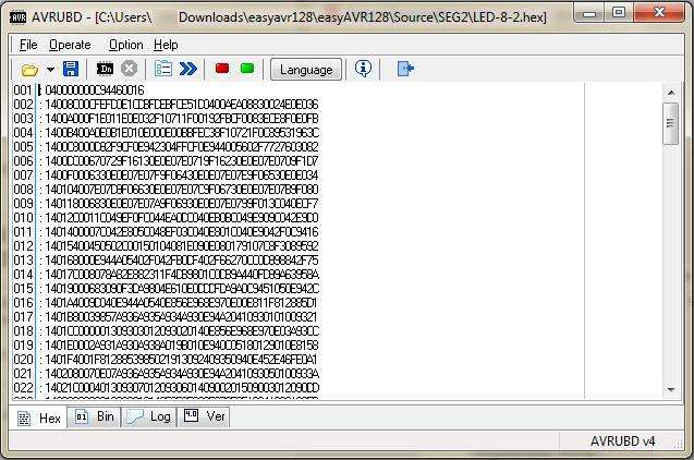 Zawartość programu w oknie AVRUB