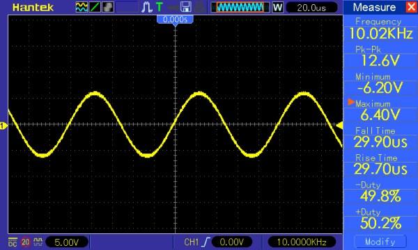 Pomiar 5: f=10kHz, Amplituda=12V