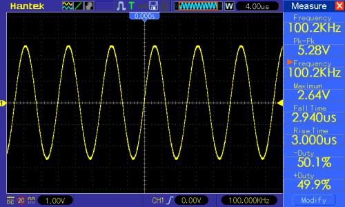 Częstotliwość przebiegu 100kHz, amplituda 5V