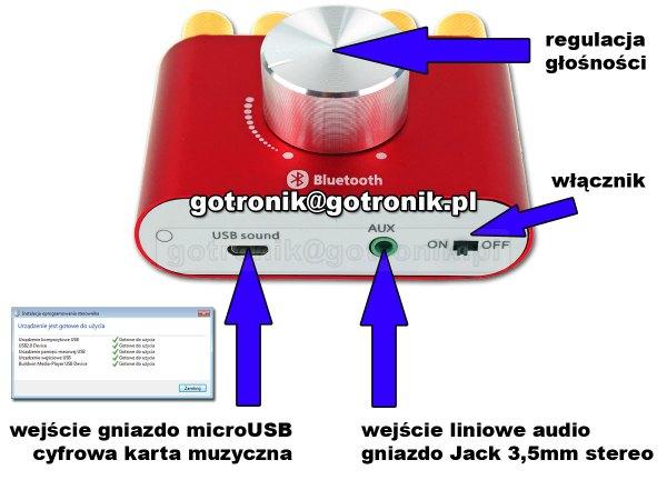 Opis wejść wzmacniacza Bluetooth