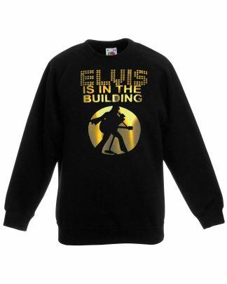 """Unisex Black The King """"Is In the Building"""" Rock N Roll Printed Sweatshirt"""