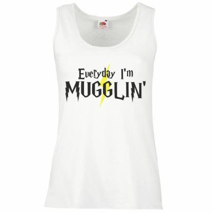 Ladies White 'Everyday I'm Mugglin' Vest Harry Potter Muggle Tank Top