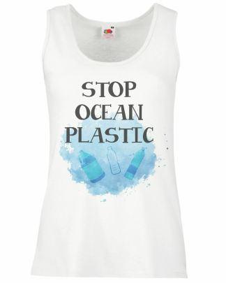 Ladies White Stop Ocean Plastic Vest Aquatic Wildlife Conservation Top