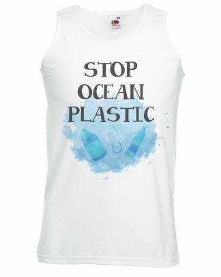 Mens White Stop Ocean Plastic Vest Aquatic Wildlife Conservation Top