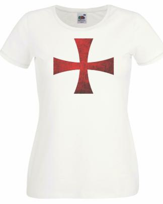 Womens England Supporters Templar Crusader Cross St Georges Day T-Shirt