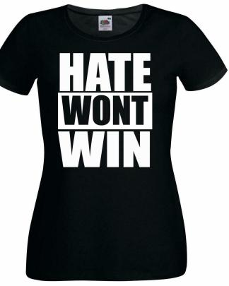 Hate Wont Win Stop Online Abuse Anti Racism Ladies T-Shirt
