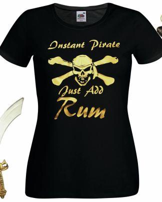 Ladies Black Instant Pirate Just Add Rum T-Shirt Fancy Dress Pirate Kit