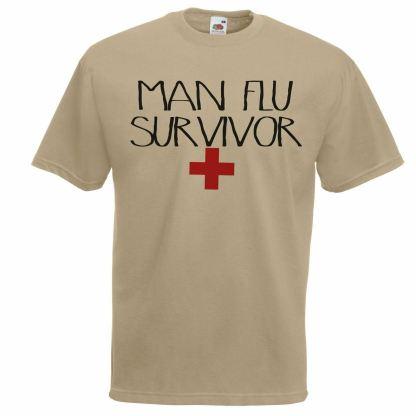 Unisex Mens Man Flu Survivor Funny Parody T Shirt Khaki