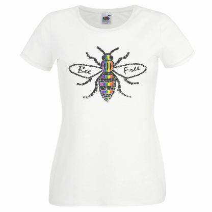 Bee Free Manchester Gay Pride T-Shirt LGBTQ Printed Top UK
