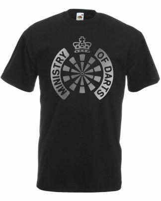 Ministry of Darts Black T-Shirt World Matchplay Silver Metallic Print