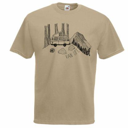 Van life Travelling Camper Explorer Drawing Khaki T-Shirt