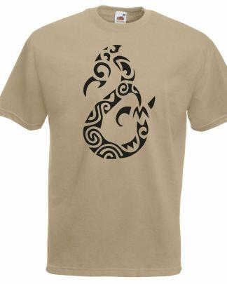 Manaia Spirit Polynesian Tattoo Khaki T-Shirt