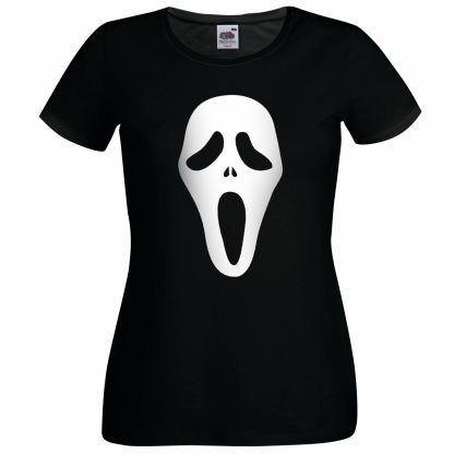 Scream Ghost Face Ladies Black T-Shirt Scary Movie Halloween