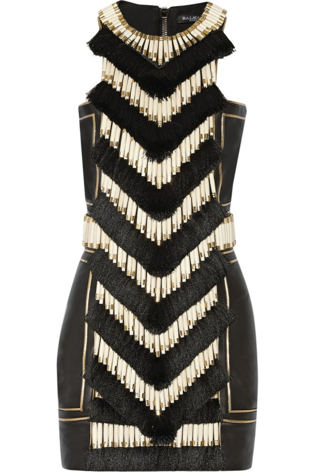 Balmain 2015 vestido de couro com franjas e bordados blog got sin 2