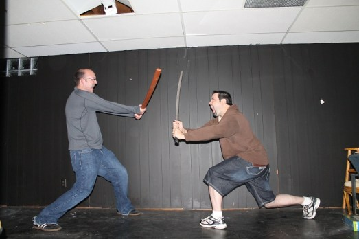 Bud and James let their inner ninja and samurai loose (before).