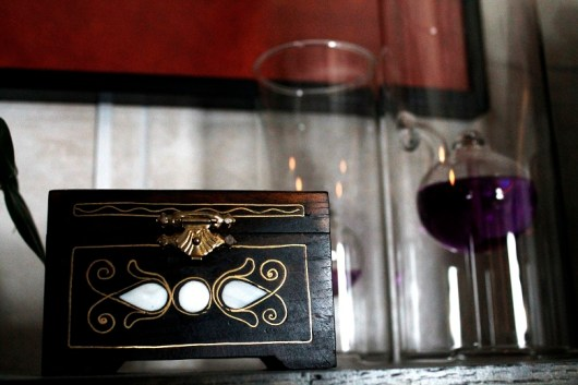 treasure box and purple oil lamp