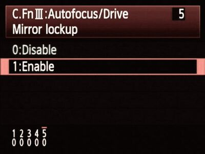 Mirror Lock Up enable Canon