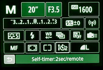 digital camera settings panel