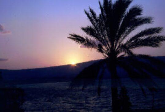 Слънце над Генесаретското езеро (Фото: Июль 1994).