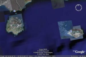 Abbildung: Oberhalb der Steilküste von Südthassos liegt das Kloster Archangelos aus dem (Foto: am 4. September 2009).