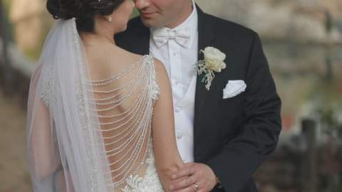 Bride and Groom romantically gazing into each others eyes