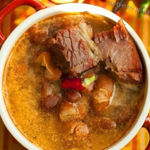 рецепт супу з квасолею на копчених ребрах