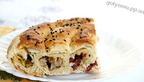 рецепт пирога-равлика з трьома начинками