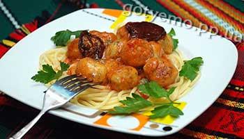рецепт спагеті з фрикадельками
