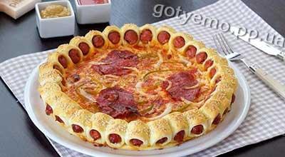 рецепт піци з сосисками