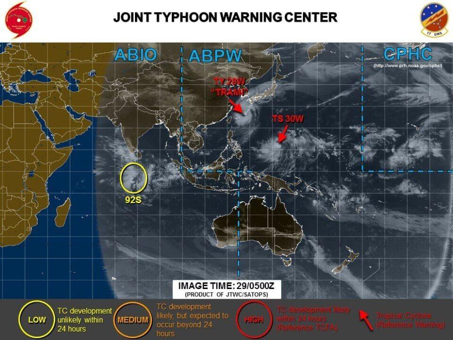 台風24号と25号2018の米軍最新情報