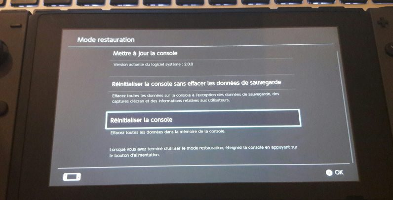 Menu restauration switch