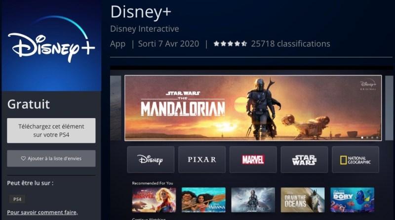 Disney+ app gratuite sur PS4