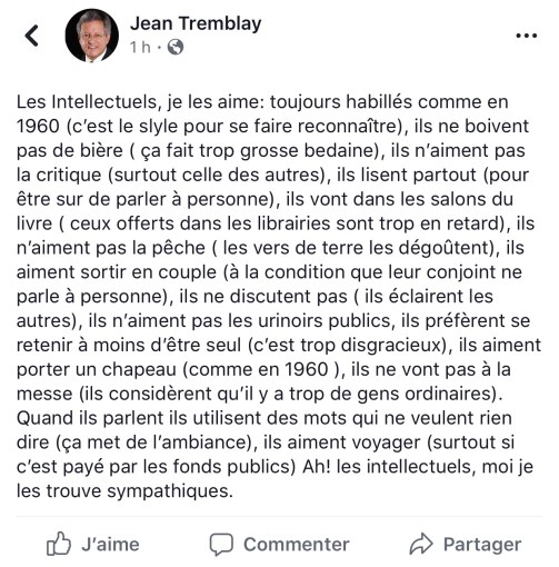 Définition de l'intellectuel selon Jean Tremblay