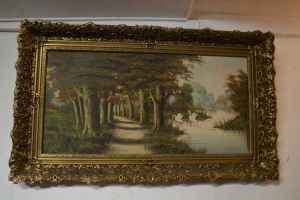 Schilderij van landschap met zwanen