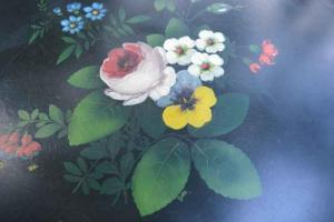 Mooi metalen dienblad bloemen geverfd