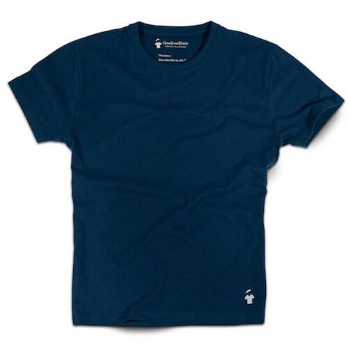 T-shirt bleu minéral col V pour homme
