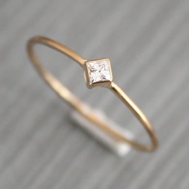 gouden ring met vierkante diamant
