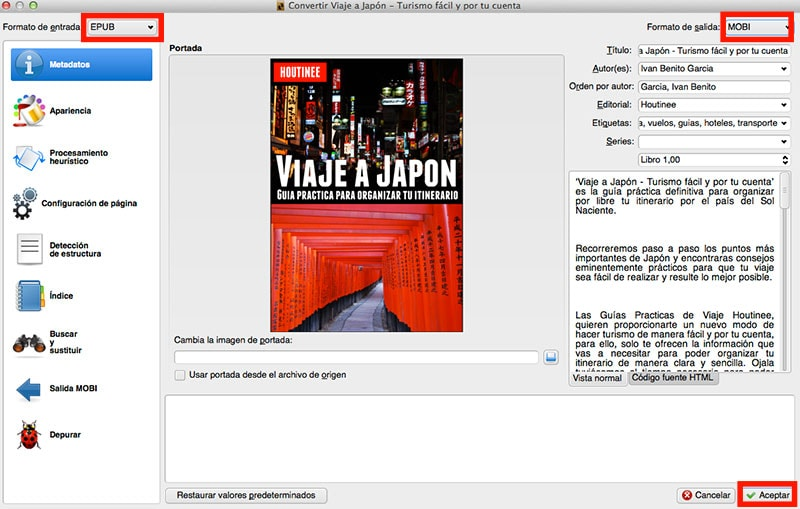 Convertimos los ebooks de formato EPUB a MOBI (Kindle acepta este formato o AZW)