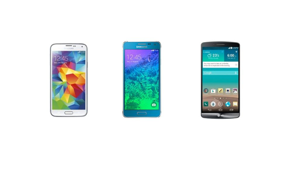 Samsung Galaxy Alpha vs Samsung Galaxy S5 vs LG G3: comparativa smartphones