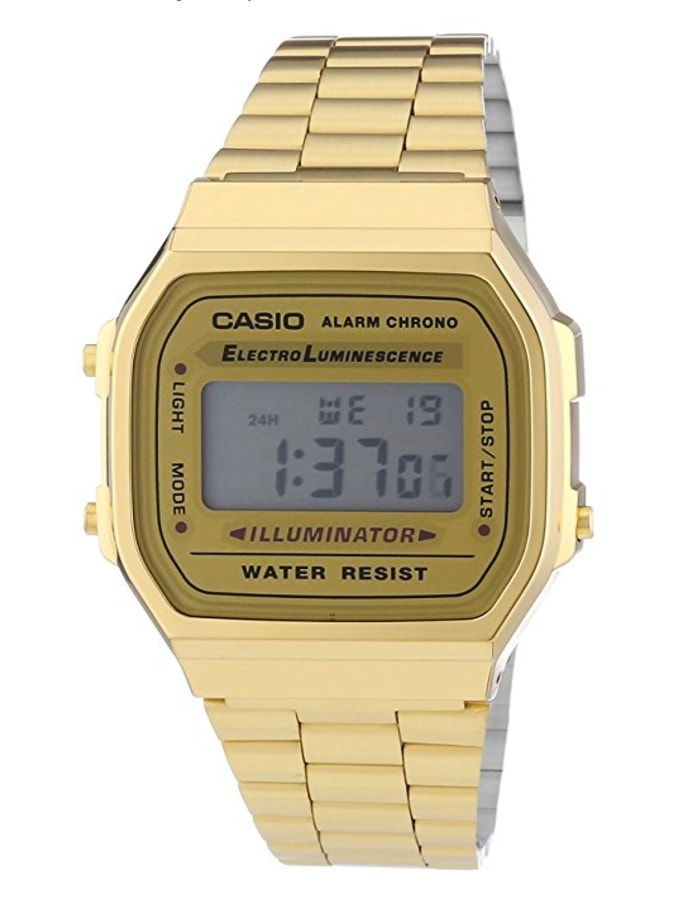 Casio Collection – Reloj Unisex Digital con Correa de Acero Inoxidable – A168WG Dorado