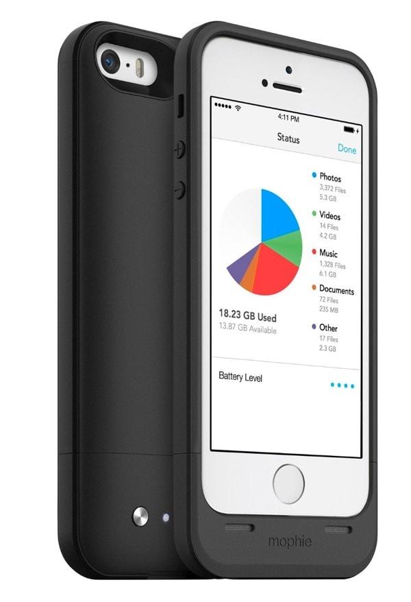 Mophie Space Pack - Carcasa con batería y almacenamiento adicional integrado de 16 GB para iPhone 5/5S
