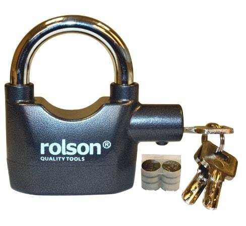 Rolson 66857 - Candado de seguridad con llave y alarma