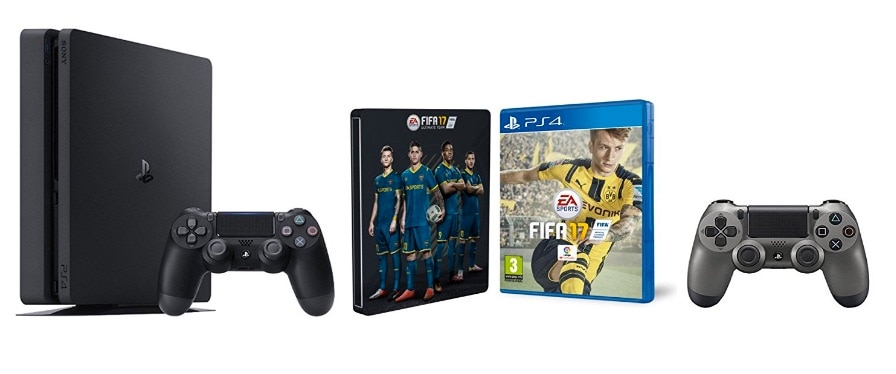 PlayStation 4 Slim (PS4) 1TB - Consola + FIFA 17 + Steelbook (Exclusivo en Amazon) + Mando adicional DualShock 4 Steel Black