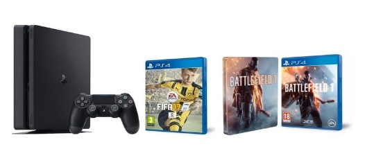 PlayStation 4 Slim (PS4) 1TB – Consola + FIFA 17 + Battlefield 1 + Steelbook