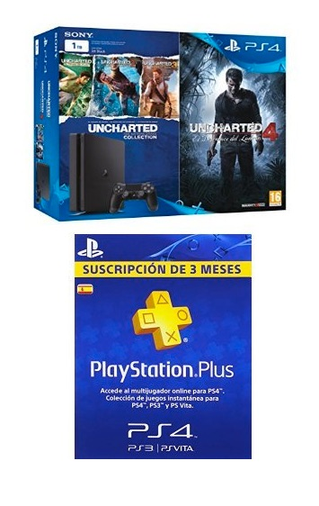 PlayStation 4 Slim (PS4) 1TB - Consola + Uncharted Collection + Uncharted 4 + PSN Plus Tarjeta 90 Días por menos de 340 euros