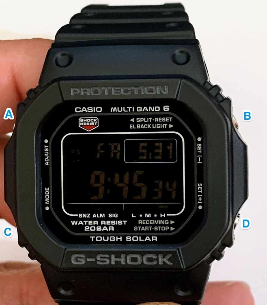 Botones Casio G-Shock GW-5610