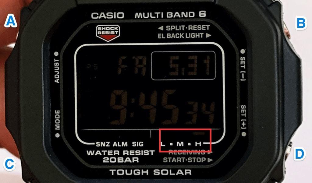 La carga solar del Casio G-Shock GW-5610